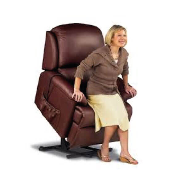 Lady sitting in her rise and recline chair