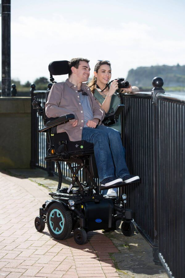 Couple with man in powerchair